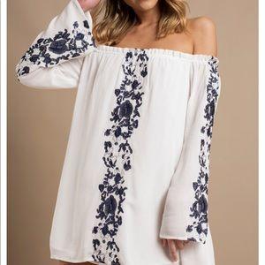 Boho Babe White & Navy Embroidery Shift Dress